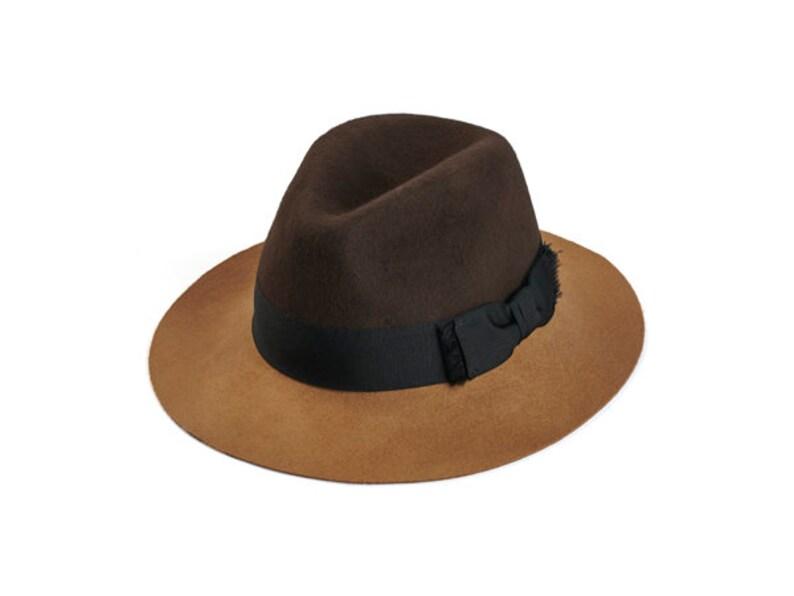 Two tone felt fedora hat Winter felt hat Women felt hat  53af726598c7