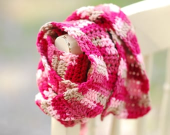 Pink and Tan Cotton Crochet Scarf