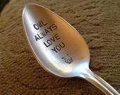 Owl Always Love You vintage silverware hand stamped teaspoon