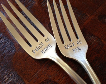 Silver Plated Cake Fork Gift Set Set of Six Vintage Pastry Forks Bespoke Mothers Day Gift Unique Wedding Gift Hand Stamped /'Eat Me/'
