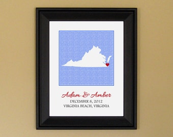 Personalized Wedding Gift - Unique Engagement Present - Paper Anniversary Gift - Custom Virginia State Map - 11 x 14