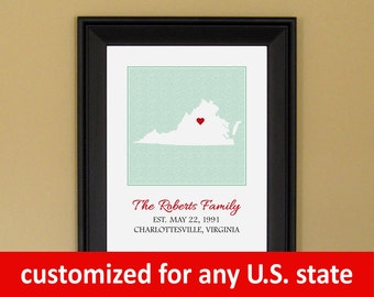 Family Established Sign - Family Name Art - Personalized Anniversary Gift - Custom Virginia State Love Map - 11 x 14
