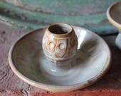 Pitch Pine Pottery Art Nouveau Set of  Two Candle Stick Holders - Opalescent