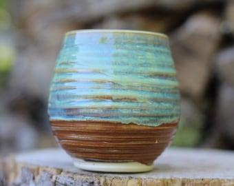 9 Pitch Pine Pottery Art Nouveau Stoneware Wine Cup -  Turquoise - 18 oz