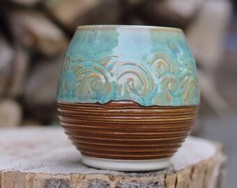 96 Pitch Pine Pottery Art Nouveau Stoneware Wave Wine Mug - Turquoise Sea 17 oz