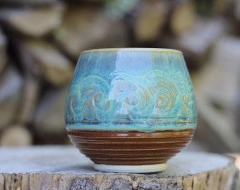2 Pitch Pine Pottery Art Nouveau Stoneware Wine Cup -  Turquoise Waves - 14 oz