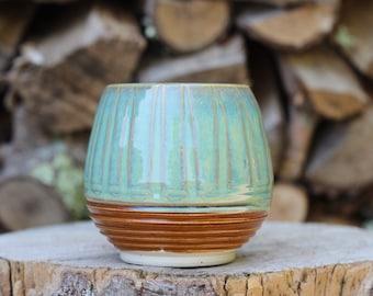 25 Pitch Pine Pottery Art Nouveau Stoneware Wine Cup -  Turquoise - 16 oz