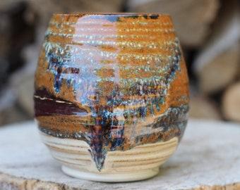 26 Pitch Pine Pottery Art Nouveau Stoneware Wine Cup -  Shimmering Woods - 14 oz