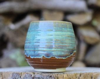 8 Pitch Pine Pottery Art Nouveau Stoneware Wine Cup -  Turquoise - 16 oz