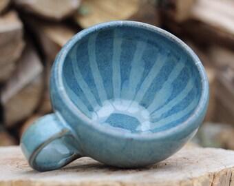 Pitch Pine Pottery Art Nouveau Stoneware Soup Mug - 16 oz - Arctic Blue Drip