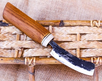 Hand Forged Laminated Steel Curved Blade Nakiri Chef Knife Kitchen Vegetable Chopper