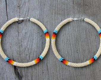 eleumne.com   Tan Native American beaded hoop earrings
