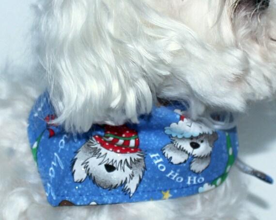 Christmas Dog Bandana, S M Lg Reversible tie-on dog bandanas, IN STOCK, holiday dog clothing