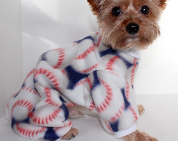 Baseball Dog Pajama Onesie, Sports Fleece Onesies for Dogs
