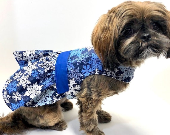 Winter Dog Dress, 3XS 2XS XS S M L, Blue with Snowflakes, Fine Silver Glitter Dress for Dogs, designer fashion dog clothes