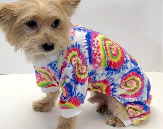 Flannel Dog Onesie Pajamas, Rainbow Tie Dye