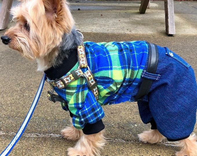 Featured listing image: Dog Pajama Onesie, Plaid Top, Denim Bottom Onesies for Dogs