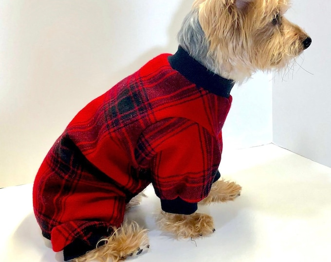 Featured listing image: Dog Pajama Onesie, Red Black Plaid Flannel Onesies for Dogs