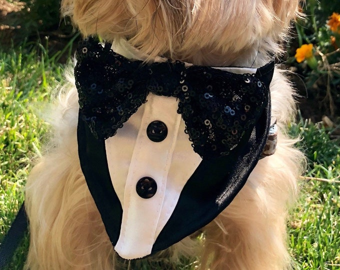 Featured listing image: Tuxedo Dog Bandana, black sequin bow tie, fashion dogs neckwear