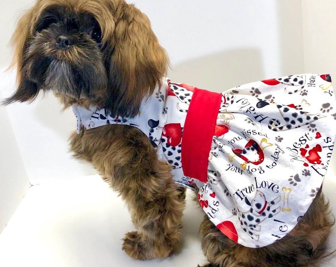 Featured listing image: Valentine Dog Dress, 3XS 2XS XS S M L XL, Red White Dogs Love Theme