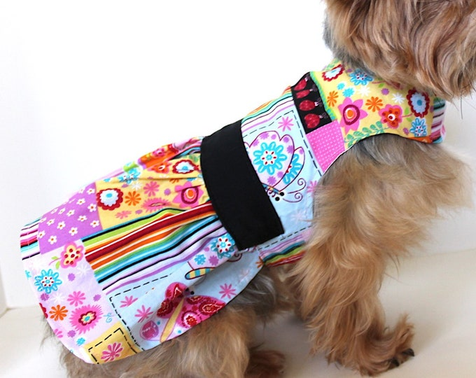 Featured listing image: Floral Dog Dress, Pretty Colorful Print fashion dogs dresses