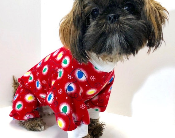 Christmas Dog Pajama Onesie, Red Flannel with Strings of Lights
