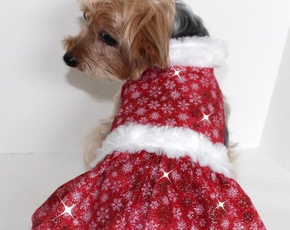 Christmas Dog Dress, Size Lg Red White Mrs Santa Claus Holiday fashion dogs dresses