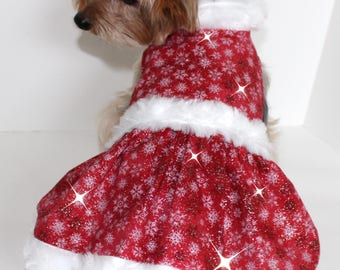 Christmas Dog Dress, XS S M L dresses for dogs, Red White Snowflake Glitter Fabric, White faux fur trim, Fashion dog clothes
