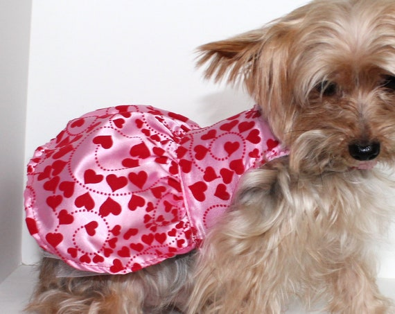 Valentine Dog Dress, Pink Satin Dogs Dresses, Pretty Heart Design