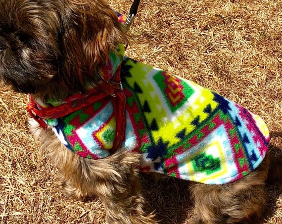 Fleece Dog Hoodie, Cute SouthWestern Style Print dogs jacket