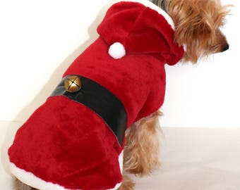 Santa Dog Hoodie, 3XS XXS XS S M L Soft Red Christmas Fleece Santa Clause coat jacket, In Stock Ready to Ship Designer Fashion Dog Clothing