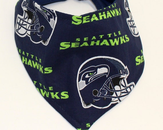 Dog Bandana, Made with Seattle Seahawks Fabric, Tie On Perfect Fit - bandanas for dogs.