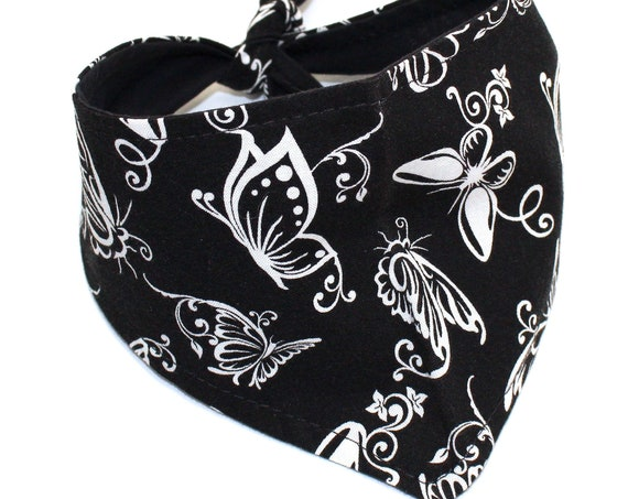 Dog Bandana, Small, tie-on Black White Butterflies, Fashion Pet by Whirly Dog Supplies