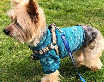 Teal Dog Sweater, S M L Pullover Dogs Sweaters Beautiful Knit Fabric, Designer Fashion Dog Clothing