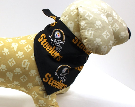 Dog Bandana, Made with Pittsburgh Steelers Fabric, Tie On Perfect Fit - bandanas for dogs.