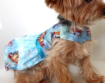 Christmas Dog Dress, XS S M L dresses for dogs, beautiful blue glitter snowman theme dog dress for Christmas Holidays, Fashion dog clothes