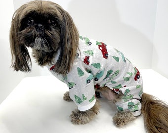 Dog Onesie Pajamas, Cars Trucks Trees Winter Holidays Flannel