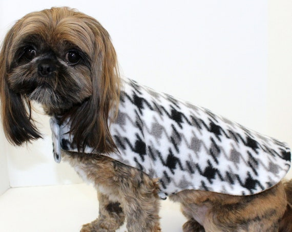 Winter Dog Coat Jacket, Houndstooth with Grey, Soft Double Fleece Reversible Warm Wrap