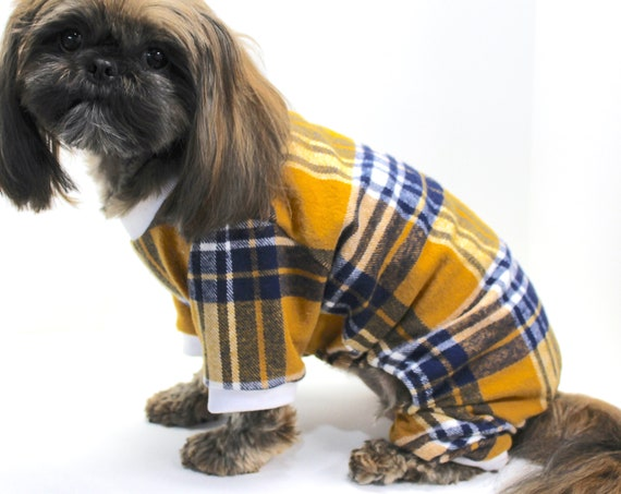 Plaid Dog Onesie Pajamas, Cute Mustard Yellow Flannel