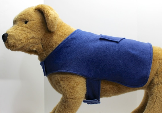 Dog Coat Jacket, 2X Lg Double Fleece, Reversible Two Tone Blue