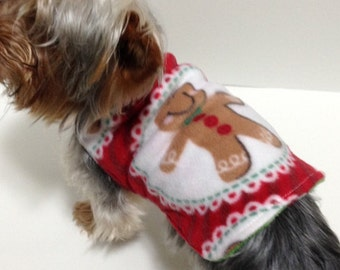 Christmas Dog Coat, size Small Fleece Gingerbread man Reversible to Candy Canes, IN STOCK Holiday Dog Clothes