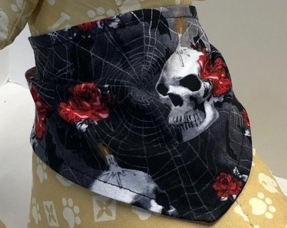 Skull Dog Bandana, Size Large skulls candles roses on black