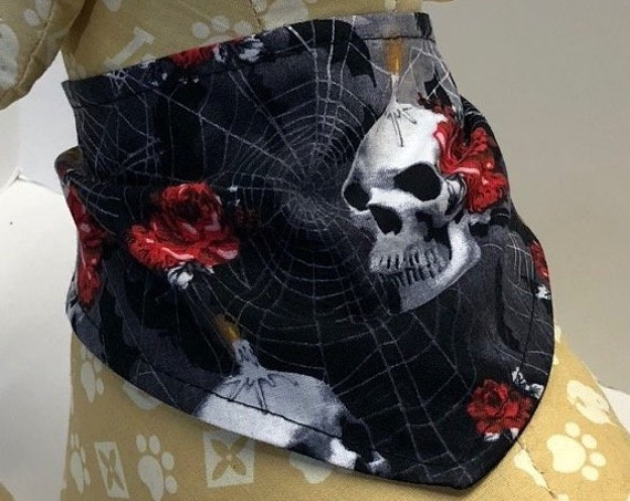 Skull Dog Bandana, skulls candles roses on black cotton bandanas for dogs