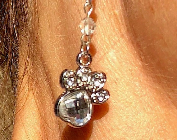 Dog Lovers Dangle Earrings, Silver Pet theme