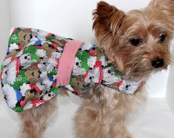 Christmas Dog Dress, XS S M L dresses for dogs, Cute Dogs wearing winter hats Glitter snow Holidays, Fashion dog clothes