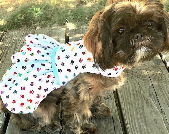 White Dog Dress, White and Tiny Rainbow Hearts Dogs Paw Print