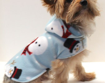 Winter Dog Hoodie, XXS Christmas Snowman on Pastel Blue Fleece dogs coat jacket sweater, Fashion Dog Clothes