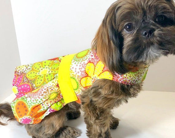 Spring Dog Dress, XS, S Yellow Floral Print fashion dogs dresses