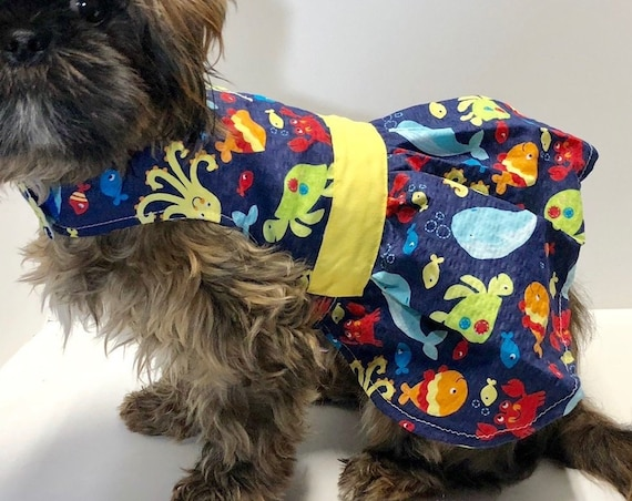 Dog Dress, Cute Sea Creature Print fashion dogs dresses