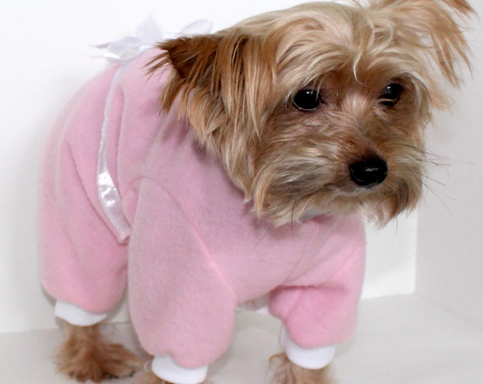 Featured listing image: Pink Dog Pajama Onesie, Pretty Pink White Bow Fleece Onesies for Dogs